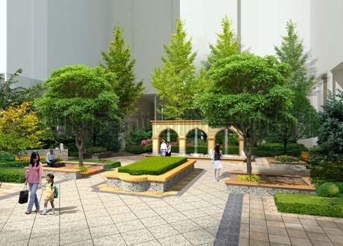 形成一条主要景观轴线,该轴线兼顾了消防通道及消防扑救面,中庭区域相